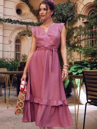 """Платье пудрового цвета с юбкой-клеш и рукавом """"крылышко"""" 54125, фото 1"""