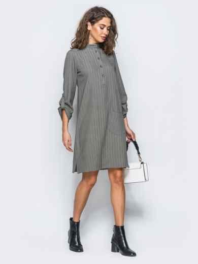 Платье-рубашка серого цвета из костюмной ткани с карманом на полочке - 17466, фото 2 – интернет-магазин Dressa
