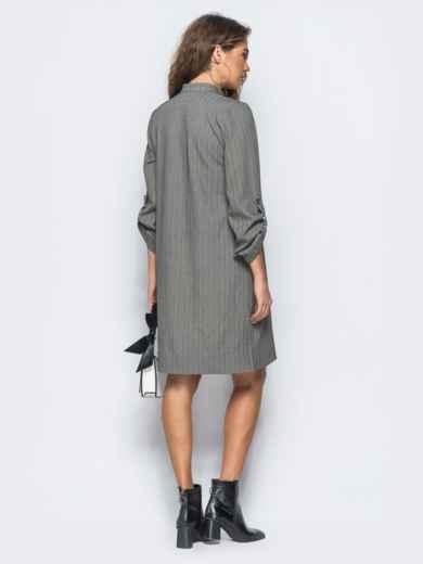 Платье-рубашка серого цвета из костюмной ткани с карманом на полочке - 17466, фото 3 – интернет-магазин Dressa