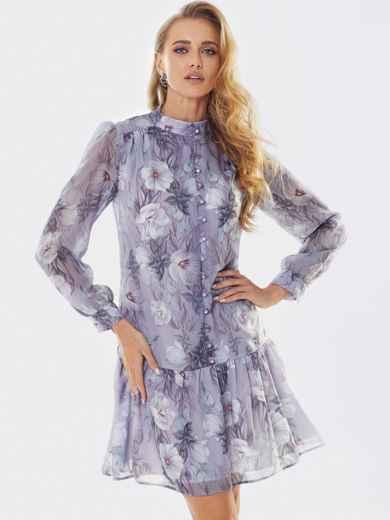 Платье с цветочным принтом и воланом по низу фиолетовое 53659, фото 1