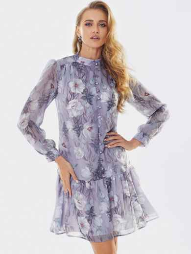 Платье с принтом «турецкие огурцы» и воланом по низу фиолетовое 53659, фото 1