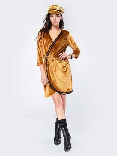 Платье с запахом и резинкой по талии янтарное - 17514, фото 1 – интернет-магазин Dressa