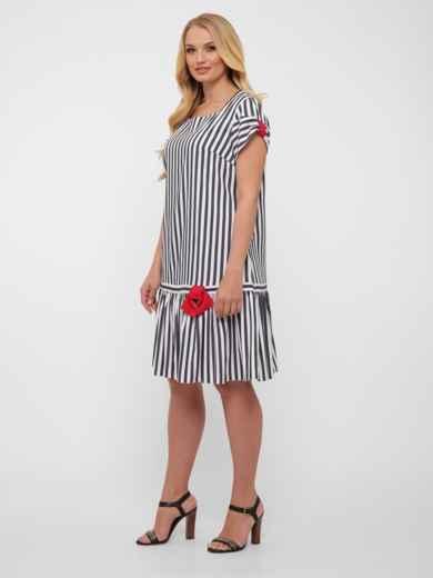 Платье-трапеция большого размера цвета графит в полоску  48573, фото 2