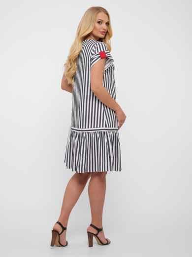 Платье-трапеция большого размера цвета графит в полоску  48573, фото 3