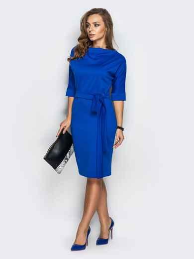 Синее платье с цельнокроенным рукавом и поясом в комплекте - 13572, фото 1 – интернет-магазин Dressa