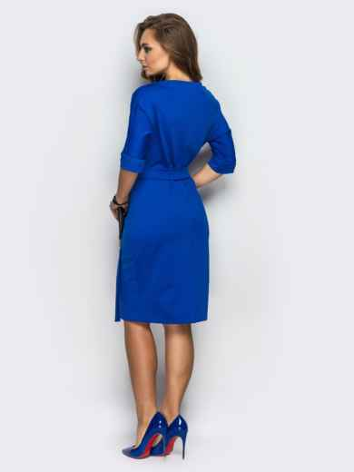 Синее платье с цельнокроенным рукавом и поясом в комплекте - 13572, фото 2 – интернет-магазин Dressa
