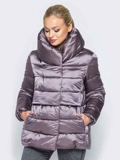 Укороченная куртка с объемным воротником серо-розового цвета - 16983, фото 1 – интернет-магазин Dressa