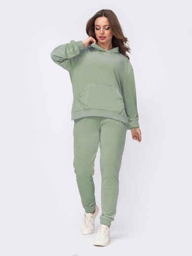 Зеленый бархатный костюм из худи и брюк 52945, фото 1