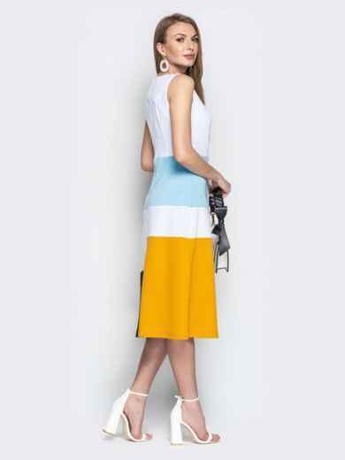 Белое платье приталенного кроя с контрастными вставками - 20491, фото 2 – интернет-магазин Dressa