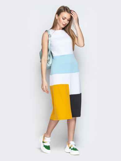 Белое платье приталенного кроя с контрастными вставками - 20491, фото 3 – интернет-магазин Dressa
