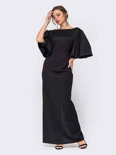 Черное платье-макси из блестящего трикотажа с объемными рукавами 52318, фото 1