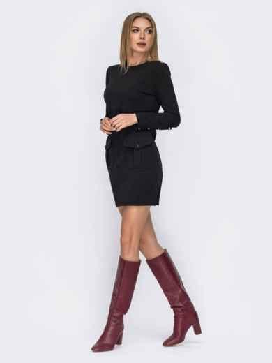 Чёрное платье-мини с широкими манжетами 42345, фото 2