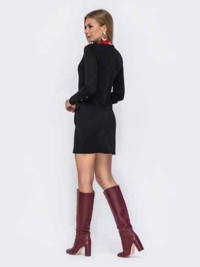 Чёрное платье-мини с широкими манжетами 42345, фото 3