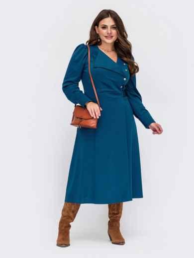 Синее платье большого размера на запах с воротником 55625, фото 1