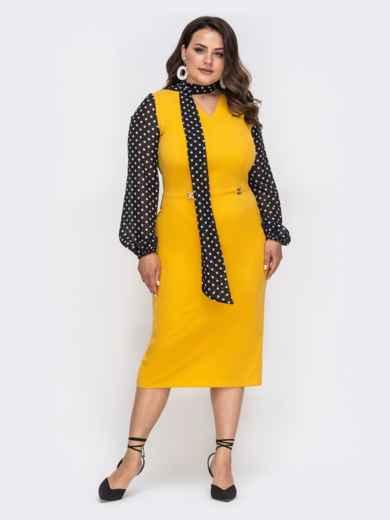Желтое платье батал с рукавами из шифона в горох 49870, фото 1
