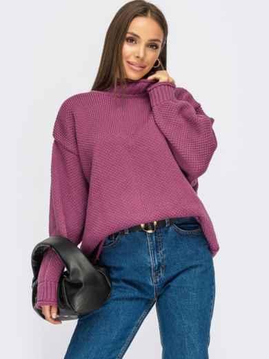 Фиолетовый свитер свободного кроя с воротником 55107, фото 1