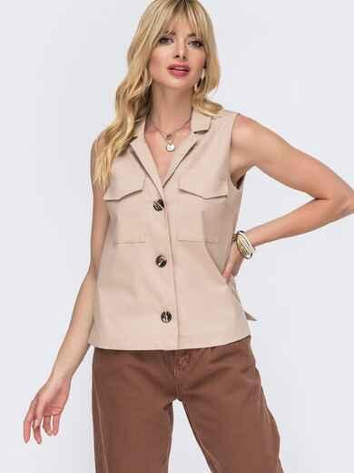 Льняная блузка бежевого цвета с накладными карманами - 49109, фото 1 – интернет-магазин Dressa