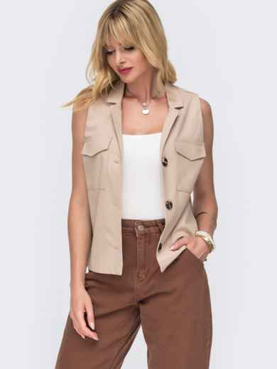 Льняная блузка бежевого цвета с накладными карманами - 49109, фото 2 – интернет-магазин Dressa