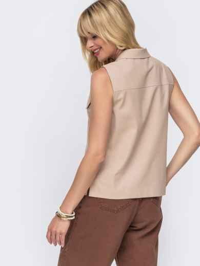 Льняная блузка бежевого цвета с накладными карманами - 49109, фото 3 – интернет-магазин Dressa
