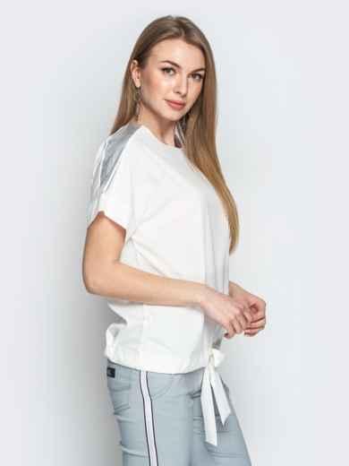 Молочная блузка с кулиской по низу и контрастными вставками 20771, фото 2
