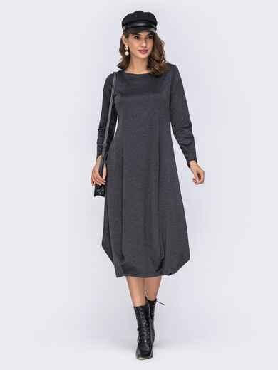 Платье-миди серого цвета с юбкой-бочкой 42349, фото 1
