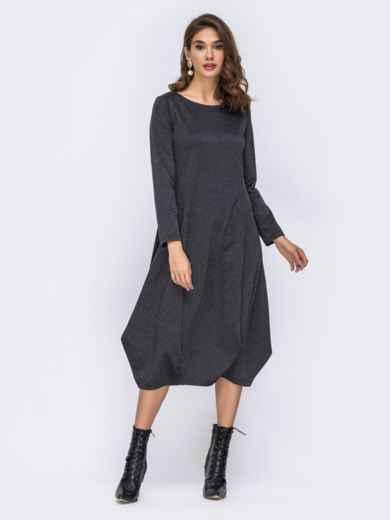 Платье-миди серого цвета с юбкой-бочкой 42349, фото 2