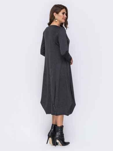 Платье-миди серого цвета с юбкой-бочкой 42349, фото 3
