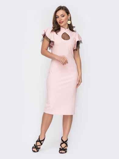 """Платье с вырезом """"капля"""" и фактурным фатином розовое 53435, фото 1"""