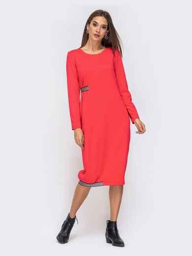 Платье свободного кроя с контрастной лентой красное 41368, фото 1