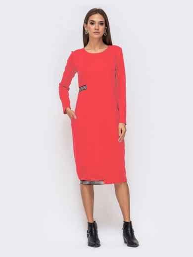 Платье свободного кроя с контрастной лентой красное 41368, фото 2