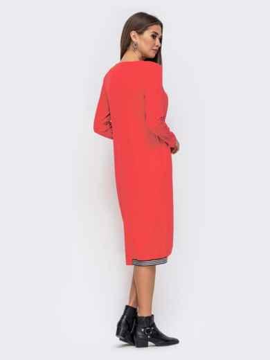 Платье свободного кроя с контрастной лентой красное 41368, фото 3
