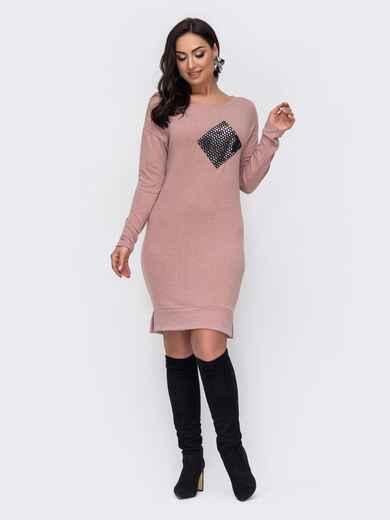 Розовое платье батал с декоративным элементом в пайетки 52773, фото 1