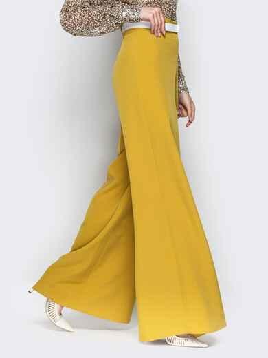 Широкие брюки-клёш с высокой посадкой жёлтые - 20489, фото 1 – интернет-магазин Dressa
