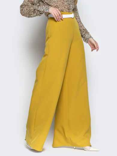Широкие брюки-клёш с высокой посадкой жёлтые - 20489, фото 2 – интернет-магазин Dressa