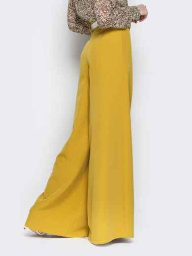 Широкие брюки-клёш с высокой посадкой жёлтые - 20489, фото 3 – интернет-магазин Dressa