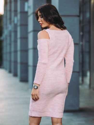 Вязаное платье с открытыми плечами розовое - 13170, фото 3 – интернет-магазин Dressa