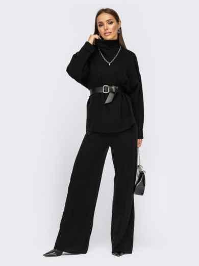 Вязаный костюм со свитером и брюками черный 55105, фото 2