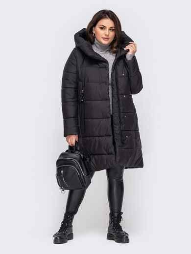 Зимняя куртка большого размера с капюшоном черная  51567, фото 1