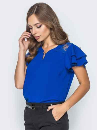 Блузка с кружевными вставками и оборкой на рукавах синяя - 14235, фото 3 – интернет-магазин Dressa