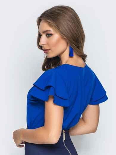 Блузка с кружевными вставками и оборкой на рукавах синяя - 14235, фото 4 – интернет-магазин Dressa