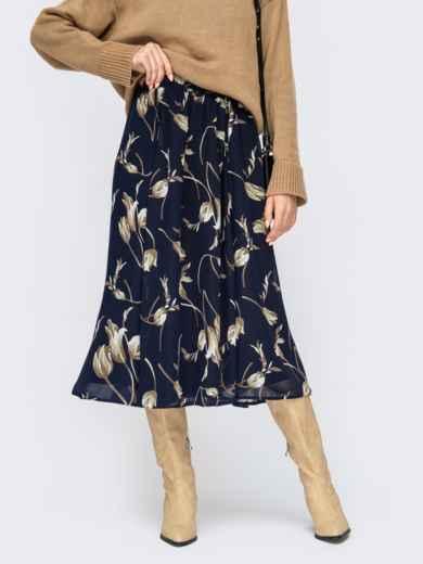 Темно-синяя юбка-миди из шифона с цветочным принтом 55210, фото 1