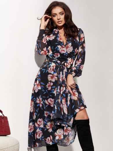 Шифоновое платье с цветочным принтом и лифом на запах черное 55217, фото 1
