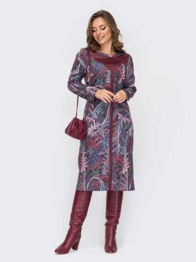 Приталенное платье с принтом и вставками из эко-кожи фиолетовое 52336, фото 1