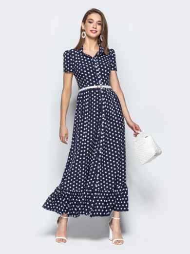 Длинное платье-рубашка в горох с оборкой по низу синее 21838, фото 1