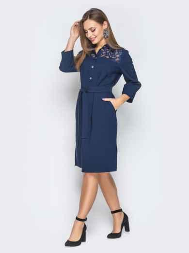 Платье-рубашка тёмно-синего цвета с гипюром на кокетке - 18821, фото 2 – интернет-магазин Dressa