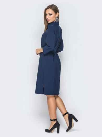 Платье-рубашка тёмно-синего цвета с гипюром на кокетке - 18821, фото 3 – интернет-магазин Dressa