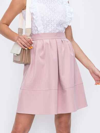 Розовая юбка полусолнце с бантовыми складками 49606, фото 1