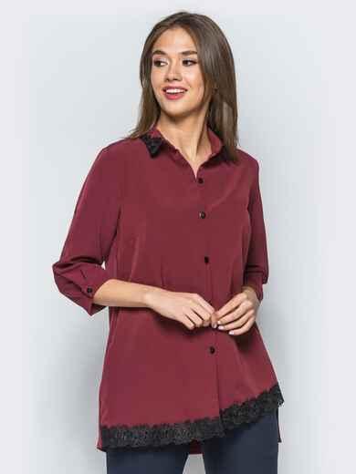 Удлиненная рубашка бордового цвета с кружевными вставками - 16898, фото 1 – интернет-магазин Dressa