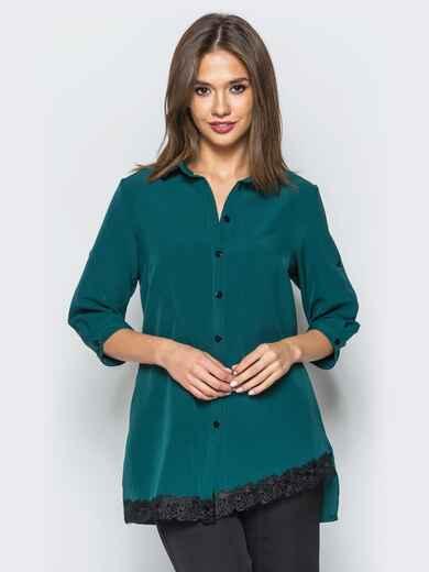 Удлиненная рубашка зелёного цвета с кружевными вставками - 16899, фото 1 – интернет-магазин Dressa