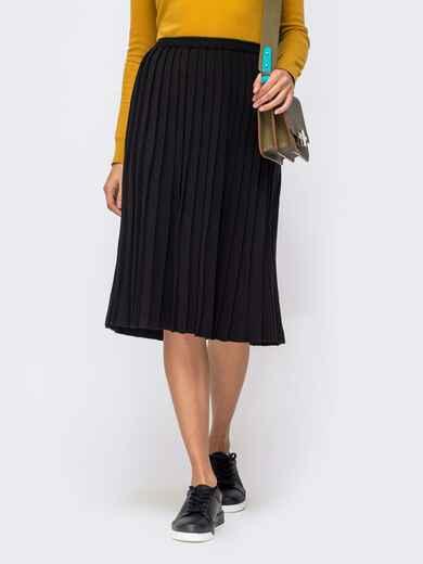 Вязаная юбка-плиссе чёрного цвета 41188, фото 1